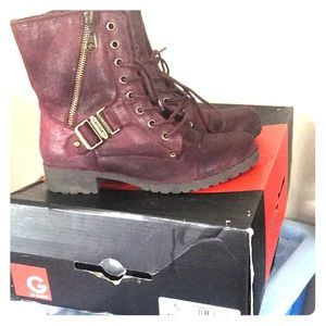 Maroon Combat boots size 6